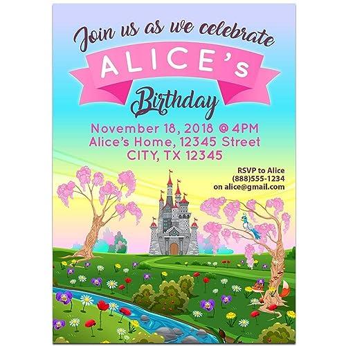 Amazon Com Fairy Tales Alice Wonderland Birthday Party Invitations