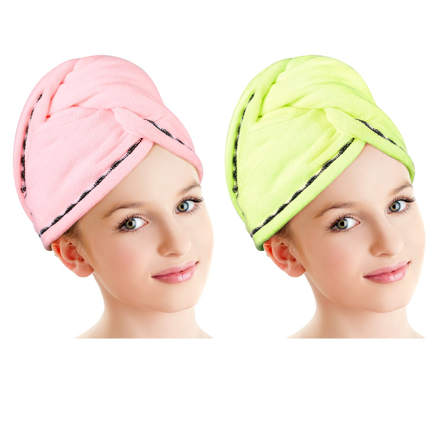 Luxspire 2 Pack Microfiber Hair Drying Towels Wrap Turban, Fast Drying Hair Cap, Bath Shower Head Towel with Buttons, Super Water-absorbent - Yellow & Pink