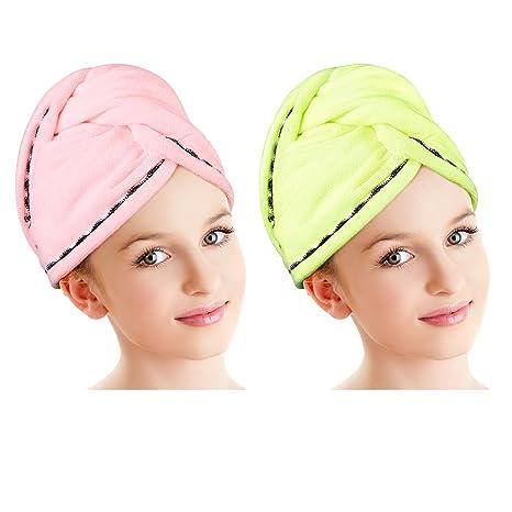 Luxspire Gorro de ducha de microfibra para el cabello, gorra de secado rápido, turbante