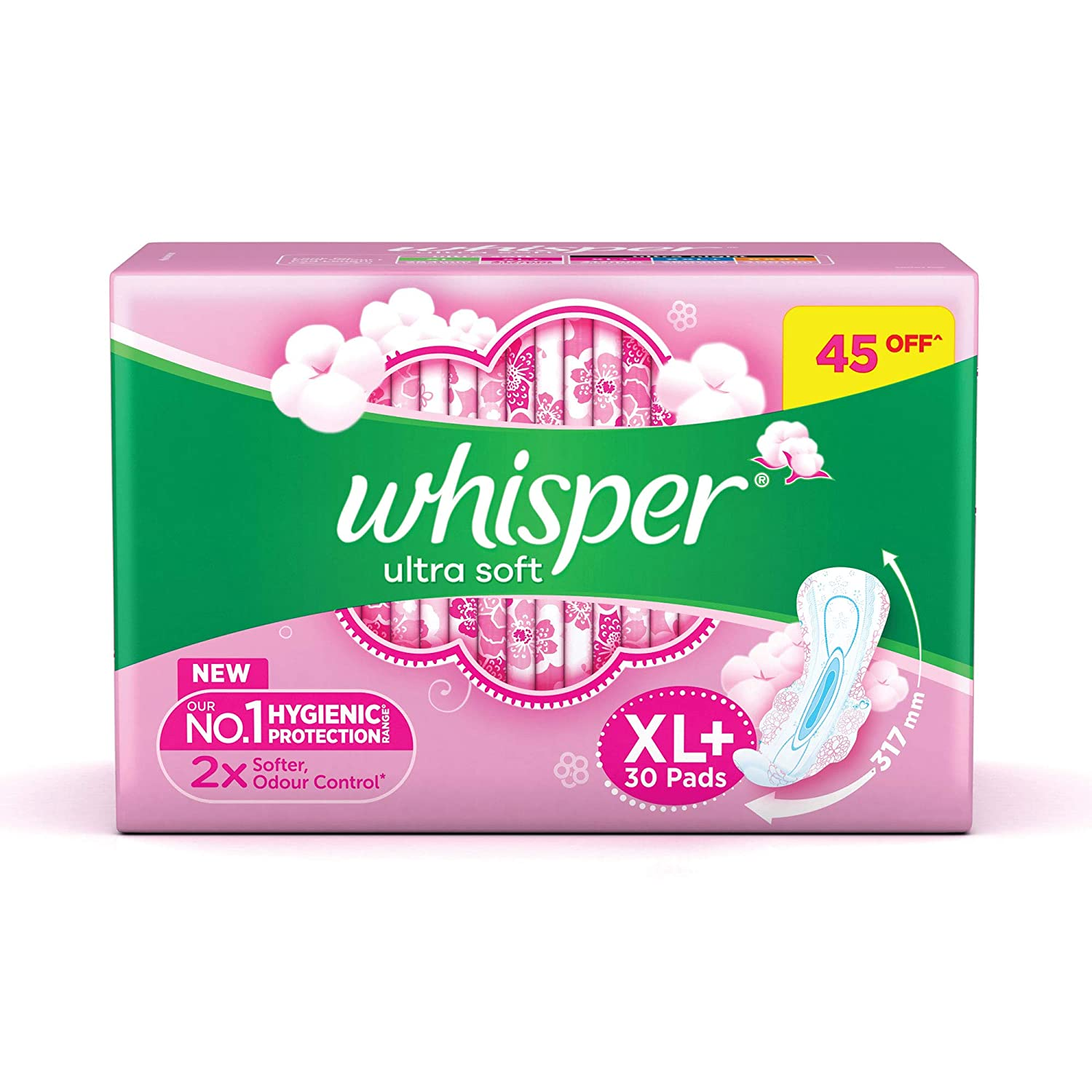 Whisper Ultra Soft Sanitary Pads for Women, XL+ 30 Napkins