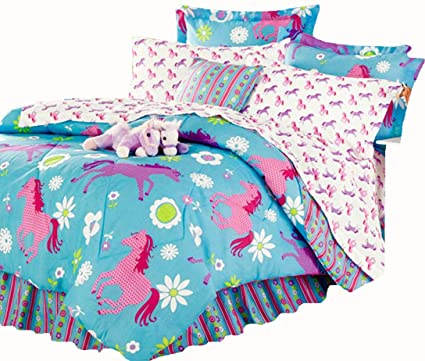 Girls Turquoise Blue U0026 Pink PONY HORSE Comforter Set W/Sheets (Bed In A
