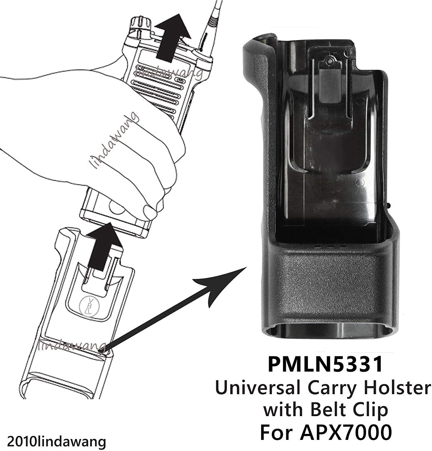 PMLN5331 Universal Carry Holster with Belt clip for Motorola APX7000 2Way Radio