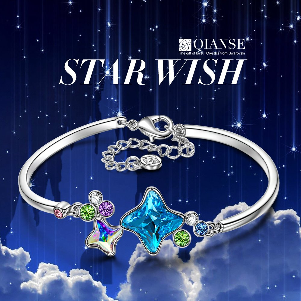 Amazon.com: QIANSE Star Wish White Gold Plated Bangle Bracelets for Women Fashion Jewelry for Her Christmas Bangle Bracelet for Her Birthday Gifts for ...