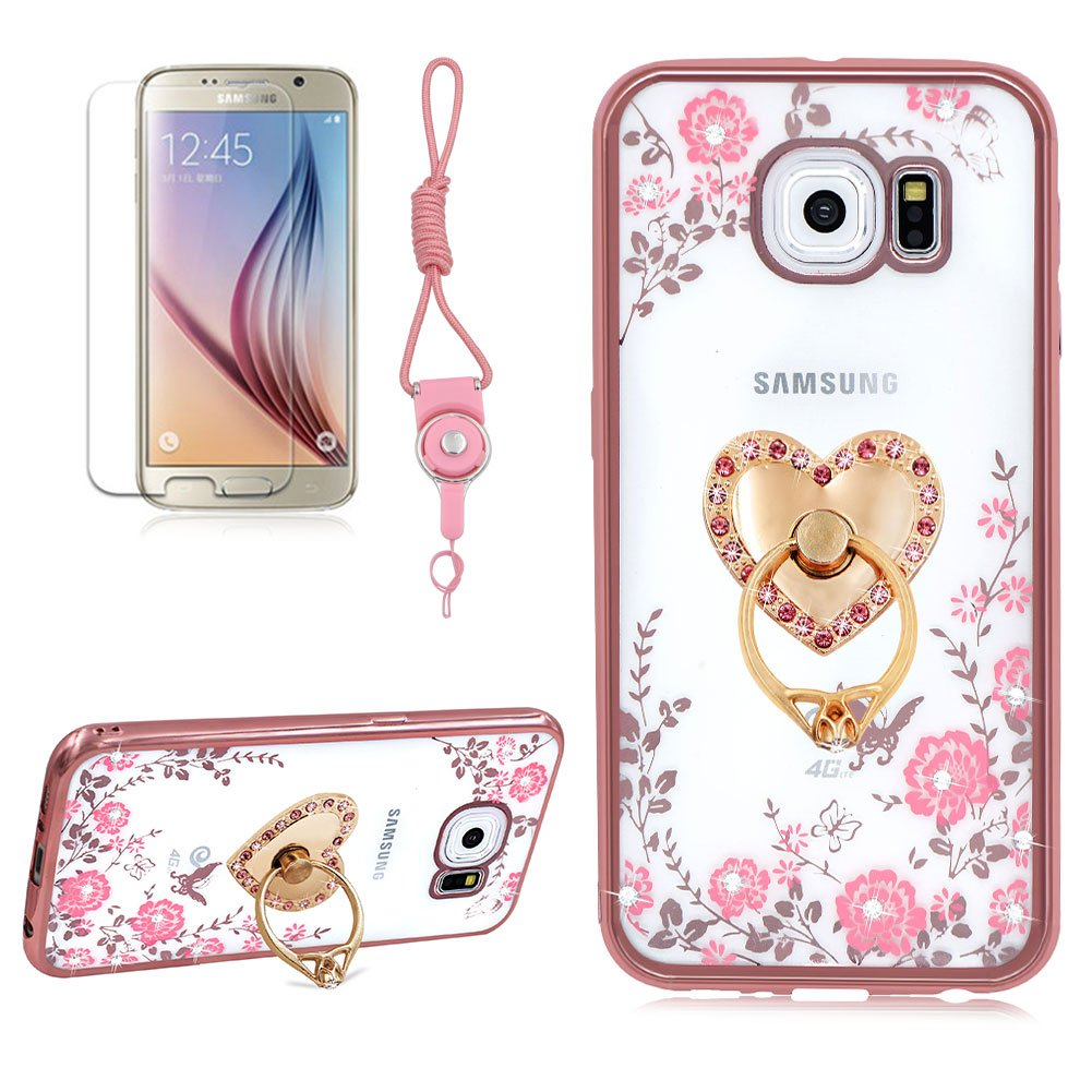 Transparent Case For Samsung Galaxy S7, Girlyard Pink Flower Butterfly Electroplating Case Bling Glitter Sparkle Case Soft Silicone TPU Rose Gold Bumper Case Ultra Thin Back Cover