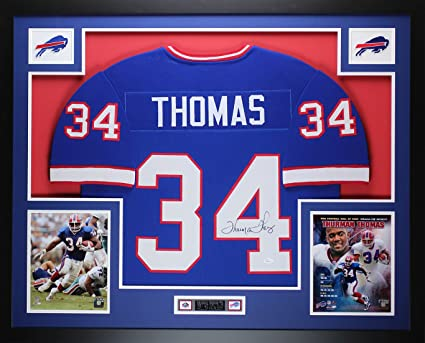 Thurman Thomas Autographed Blue Bills Jersey - Beautifully Matted and  Framed - Hand Signed By Thurman 422ff388a
