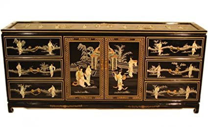 72u0026quot; Shiny Black Handpainted Oriental Dresser With Mother Of Pearl Inlays and Glass Top  sc 1 st  Amazon.com & Amazon.com: 72
