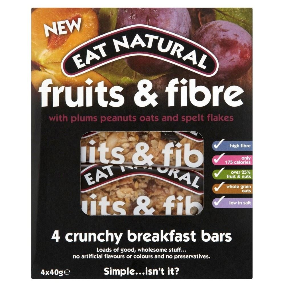 Eat Natural Fruits & Fibre Bar with Plums & Peanuts (4x40g) - Pack of 2