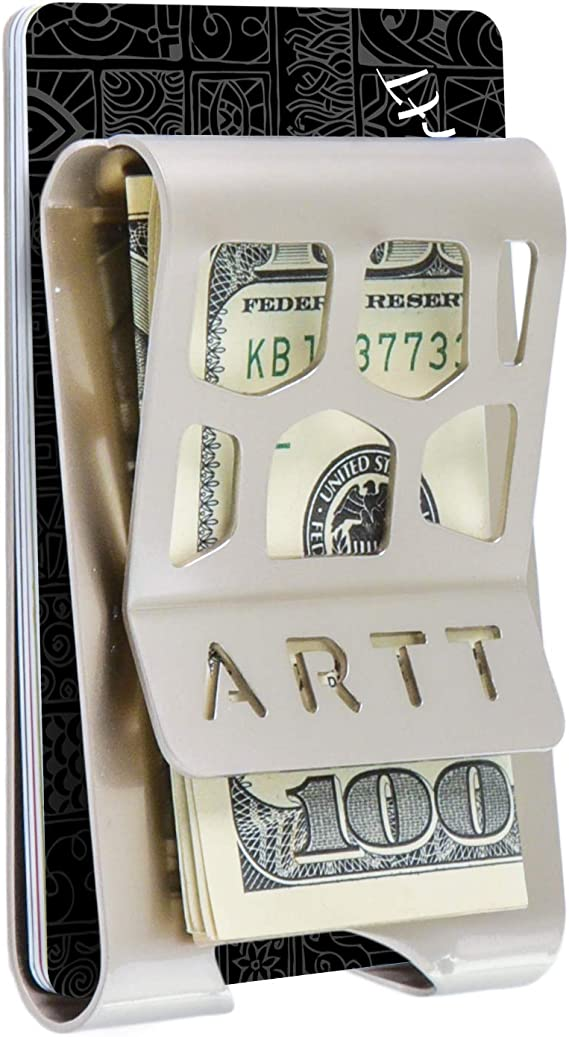 ArtT-Design Stainless-Steel Front Pocket Money Clip for Bills and Credit Cards: Amazon.com.au ...