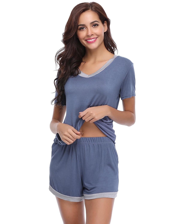 Aibrou Women's Short Pajamas Set, V-Neck Soft Loungewear Short Sleeved Cotton PJ Set Nightwear Sleepwear for Summer AMB00079