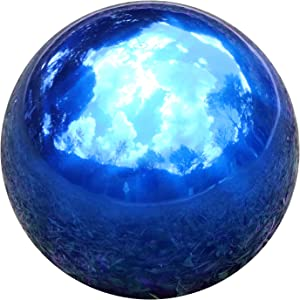 Kesywale Stainless Steel Gazing Mirror Ball, Blue Hollow Polished Reflective Garden Sphere Gazing Globe for Home Outdoor Ornament Decorations (10 Inch, Blue)