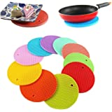 HOME CUBE® Round Shape Silica Gel Anti Hot Heat Resistant Pot Holder Disc Pads Car Dashboard Anti-Slip-resistant Pad Dining Table Mat Placemat Coasters - Set of 4 (Assorted Colors)