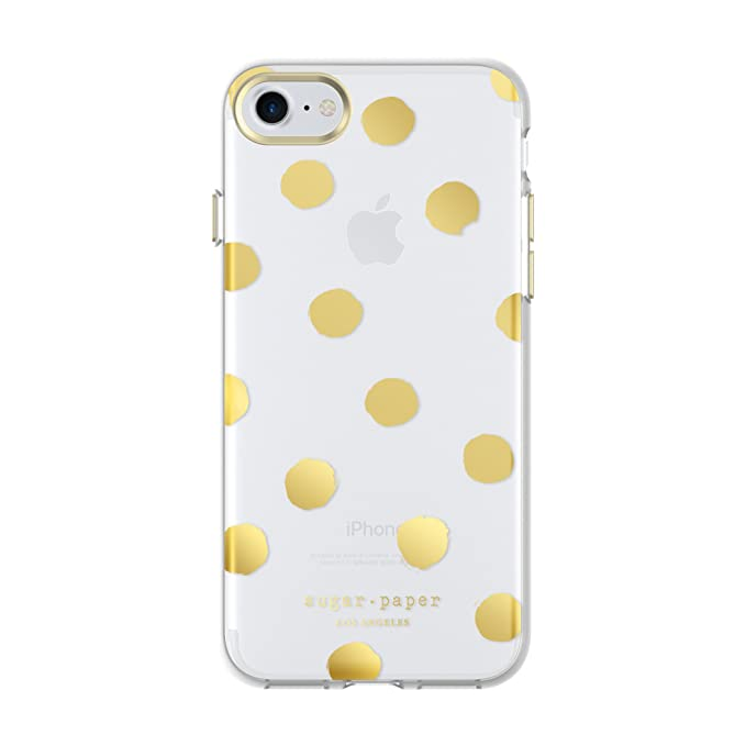 newest 19d84 265e3 Sugar Paper iPhone 7 Case, Printed Case [Shock Absorbing] Designer Cover  fits Apple iPhone 7 - Large Dot Clear/Gold