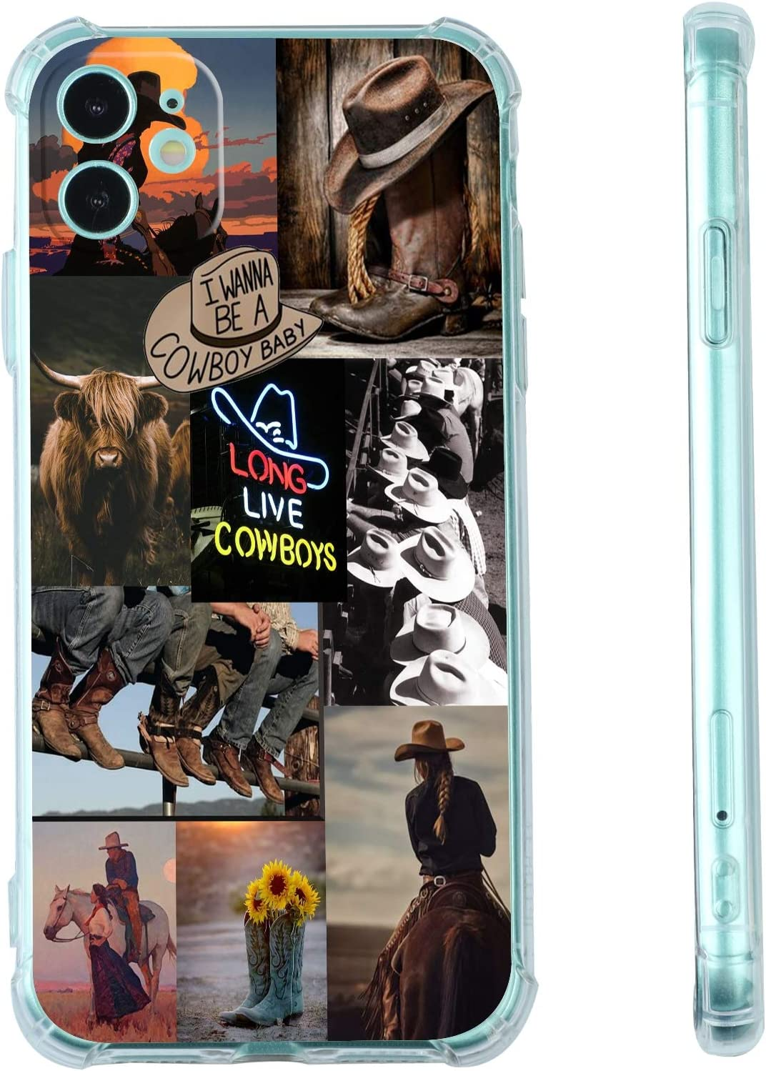 for iPhone 11 Western Case,Cowgirl Cowboy Collage Retro Howdy Boho Horses iPhone Case,Aesthetic Country Cowboy Ranch Retro Countrygirl Vintage Case for iPhone,Soft TPU Gifts Case for Girl Women