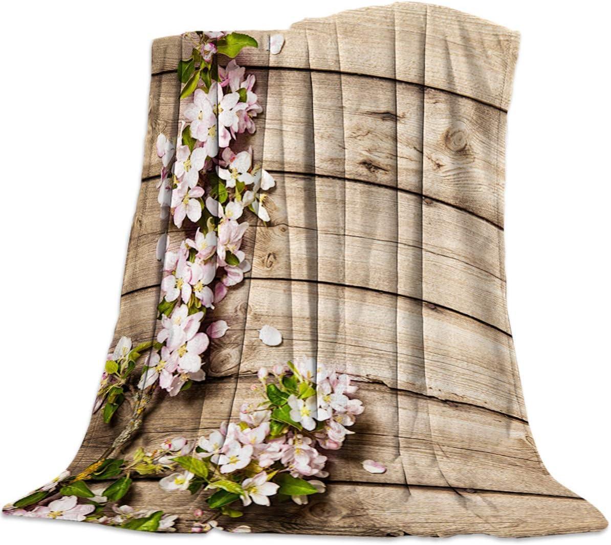 Biubiu-Shop Throw Blanket for Couch Bed Sofa Chair, Mantas Decorativas de Microfibra de Lana de Franela Decorativa, Flores de Color Rosa Retro en Tablero de Madera con Rayas Queen Size 60 '' x 80 ''