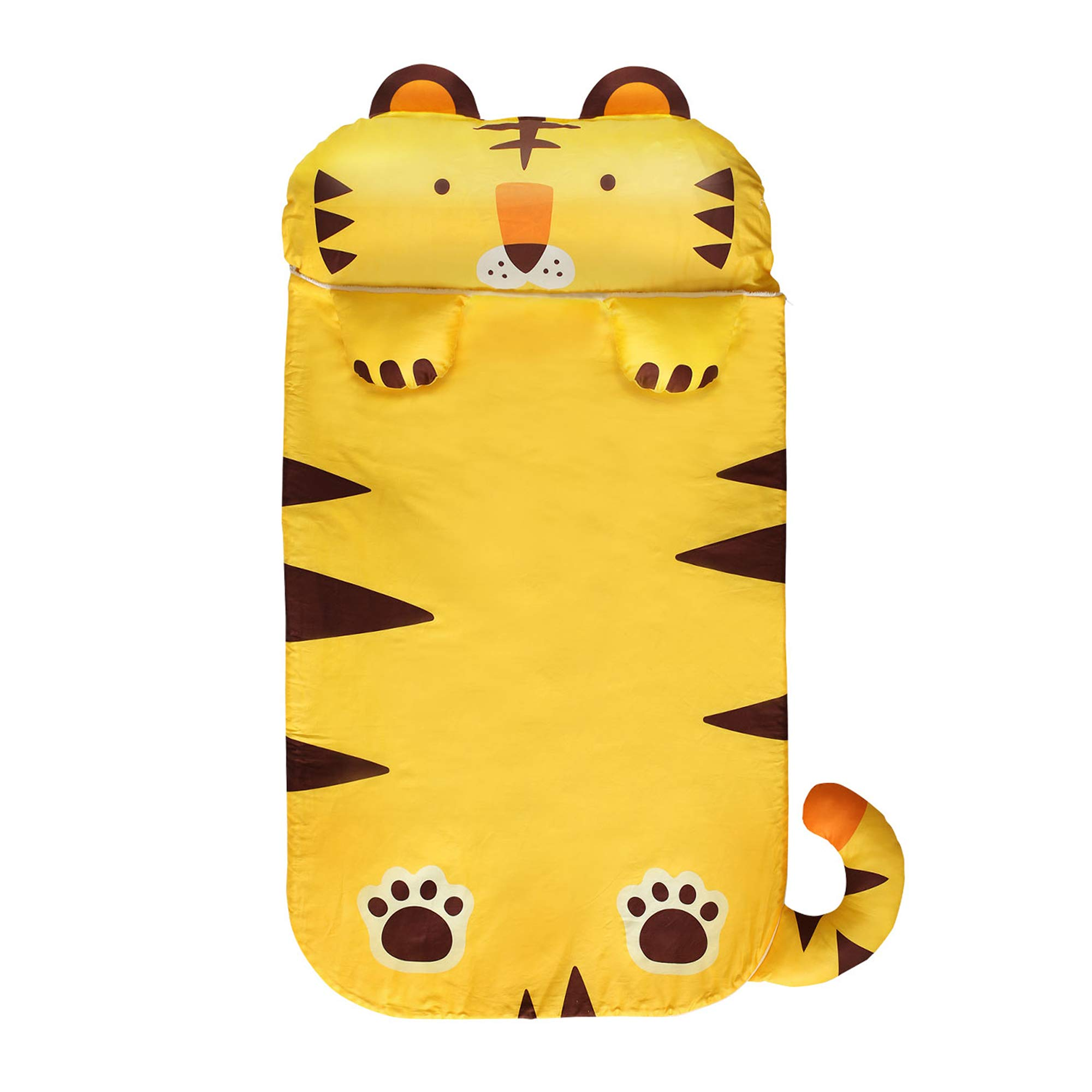 Milo&Gabby Nap Mat with Duvet, Removable Pillow and Blanket, 320 Thread Count Cotton (Tiger - Tom) by MILO & GABBY
