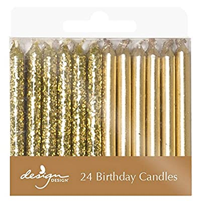 "Design Design 756-08010 Metallic Birthday Candles, 1/4 x 2 3/8"", Gold: Kitchen & Dining"