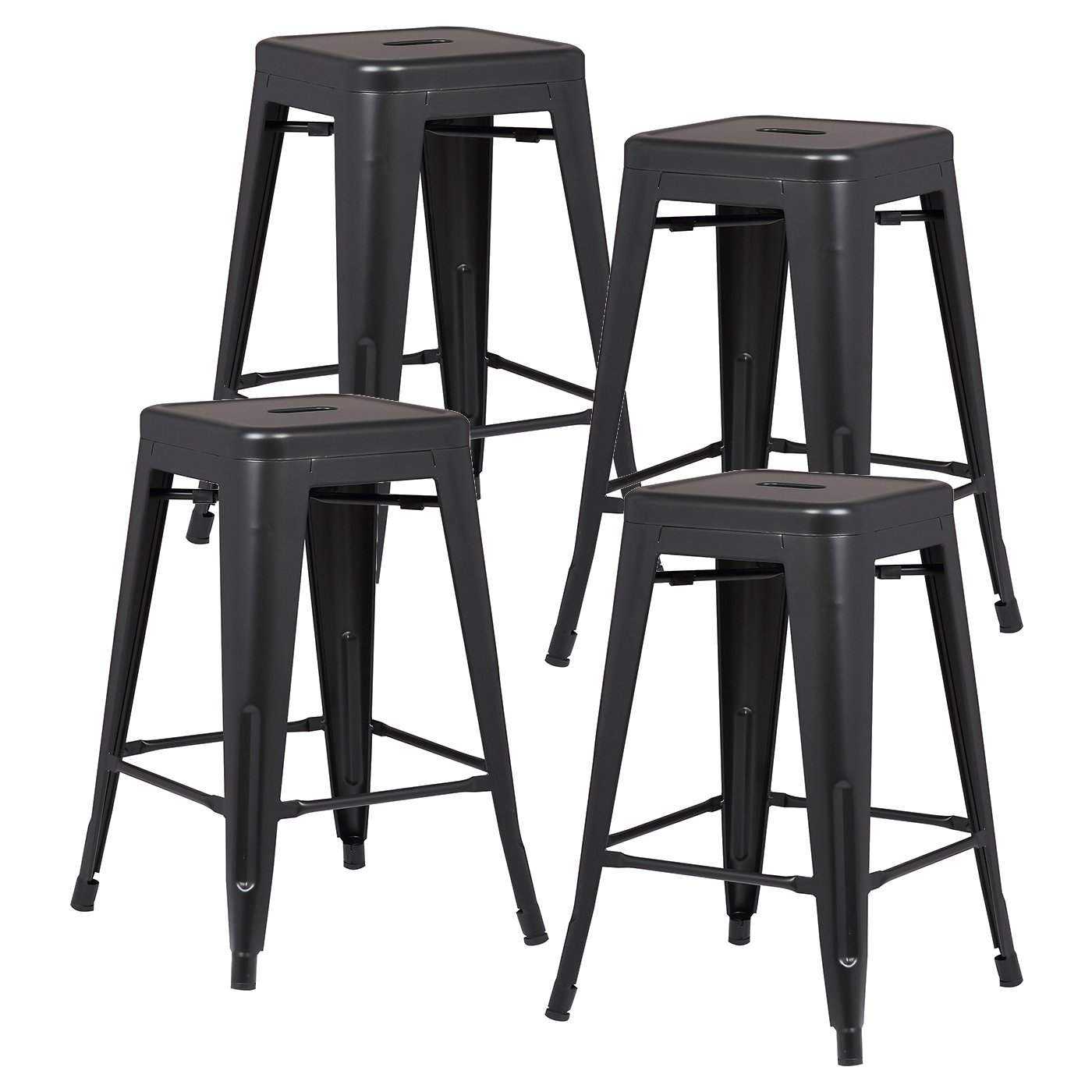 Poly and Bark Trattoria 24 Counter Height Industrial Bar Stool, Stackable, Black Set of 4