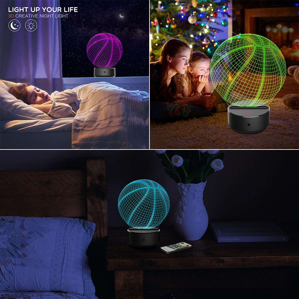 JCMKJ 3D Soccer Night Light 3D Basketball Night Light 7 Color Change LED Table Desk Lamp Acrylic Flat ABS Base USB Charger Home Decoration Toy Brithday