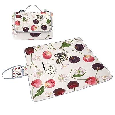 COOSUN Sweet Cherry Fruits Couverture de pique-nique Sac pratique Tapis  résistant aux moisissures et 52795ae505a