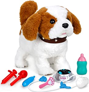 FORTY4 Realistic Puppy Dog Toy for Kids, Walking, Barking, Singing, Tail Wagging, Like Real Robotic Present Pet Toy for Toddler Kids Girls Boys