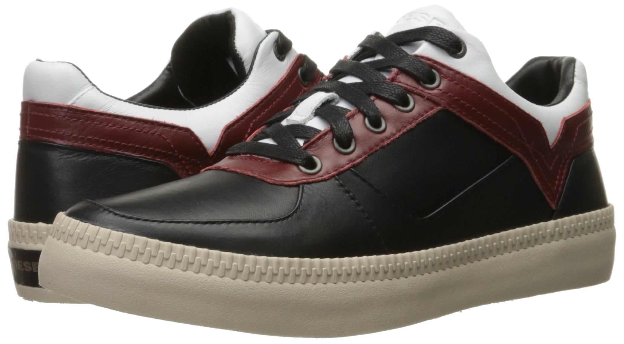 Diesel Men's V S-Spaark Low Fashion Sneaker, Black/White/Biking Red, 10.5 M US by Diesel (Image #6)