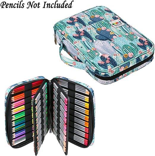 BTSKY Estuche para lápices de gran capacidad para 166 lápices, resistente al agua, con asa portátil, bolsa de almacenamiento para dibujar y pintar, bolsa de papelería para artistas (Cactus): Amazon.es: Hogar