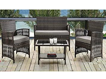 Marvelous Madrid 4 Piece Rattan Weatherproof Garden Patio Furniture Conservatory Sofa  Cushion Chair Table Set Contemporary Outdoor