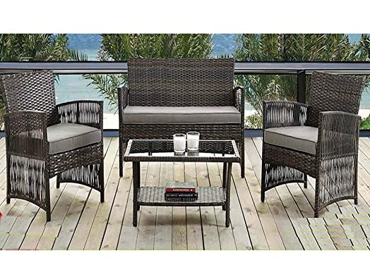 madrid 4 piece rattan weatherproof garden patio furniture conservatory sofa cushion chair table set contemporary outdoor