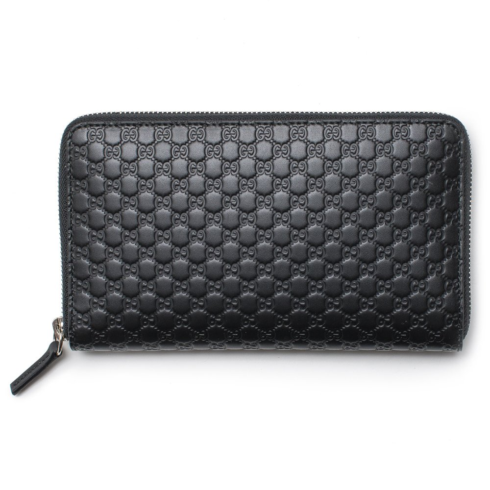 Gucci Black Wallet GG Guccissima Mini GG Large Zip Around Continental Box Leather Italy Bag New by Gucci