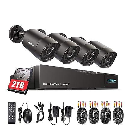 H.View Kit videovigilancia 4.0MP 1440P Cámara de Seguridad CCTV Sistema 4 Canales 5.0