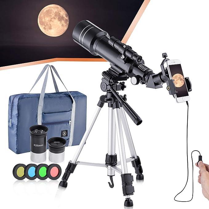 Blau Astronomie Teleskop mit Stativ und umfangreichem Zubeh/ör f/ür die Beobachtung von Mond Fernrohr Teleskop Set f/ür Kinder und Einsteiger