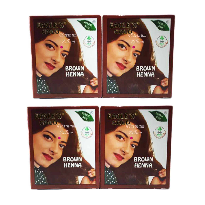 e01357beabea4 Amazon.com : Eagle's Gold - Brown Henna Hair Colour / Color Dye Powder  Unisex 4 Boxes (24pcs X 10g) : Beauty