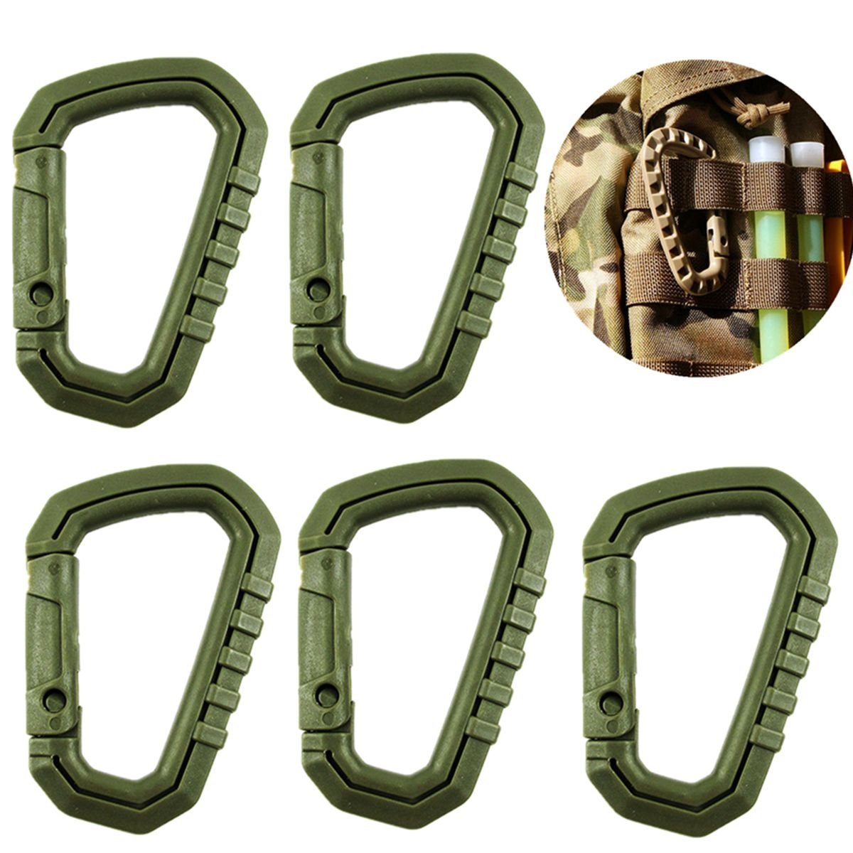 5Pcs Carabiner D-Ring Camp Snap Clip Hook Buckle Keychain Hiking Climbing