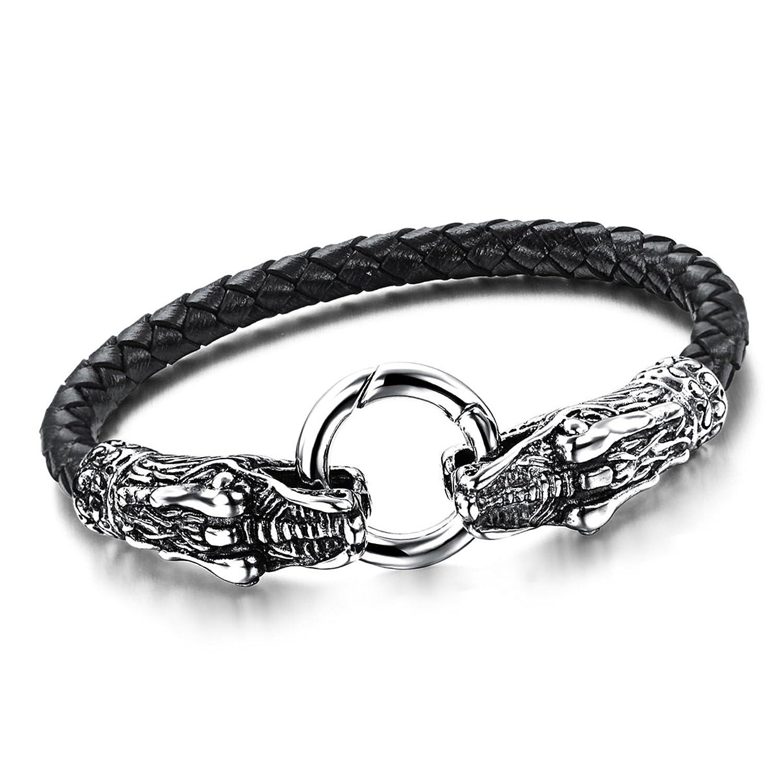 Lovely cupimatch Mens gótico motorista de acero inoxidable dragón cabeza pulsera  de piel 35a6bcad24fe