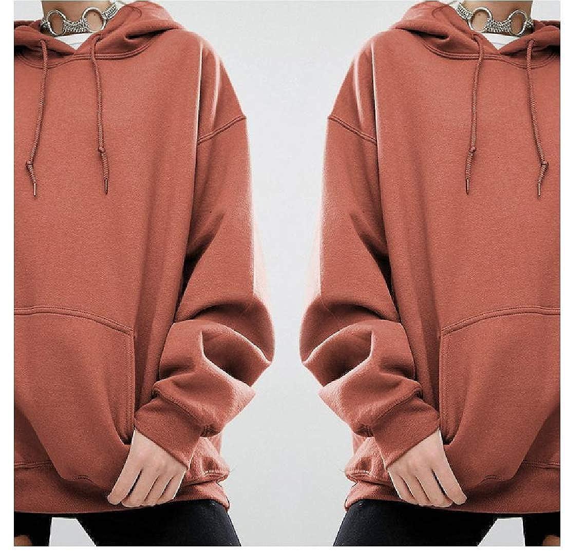 YUNY Womens Running Yoga Sports Outwear Big Pockets Pullover Hoodies Camel L
