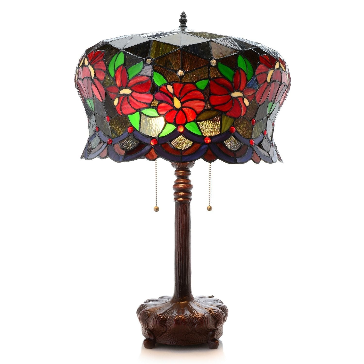 Warehouse of Tiffany Zohara 2-light Multicolor Stained Glass 18-inch Table Lamp