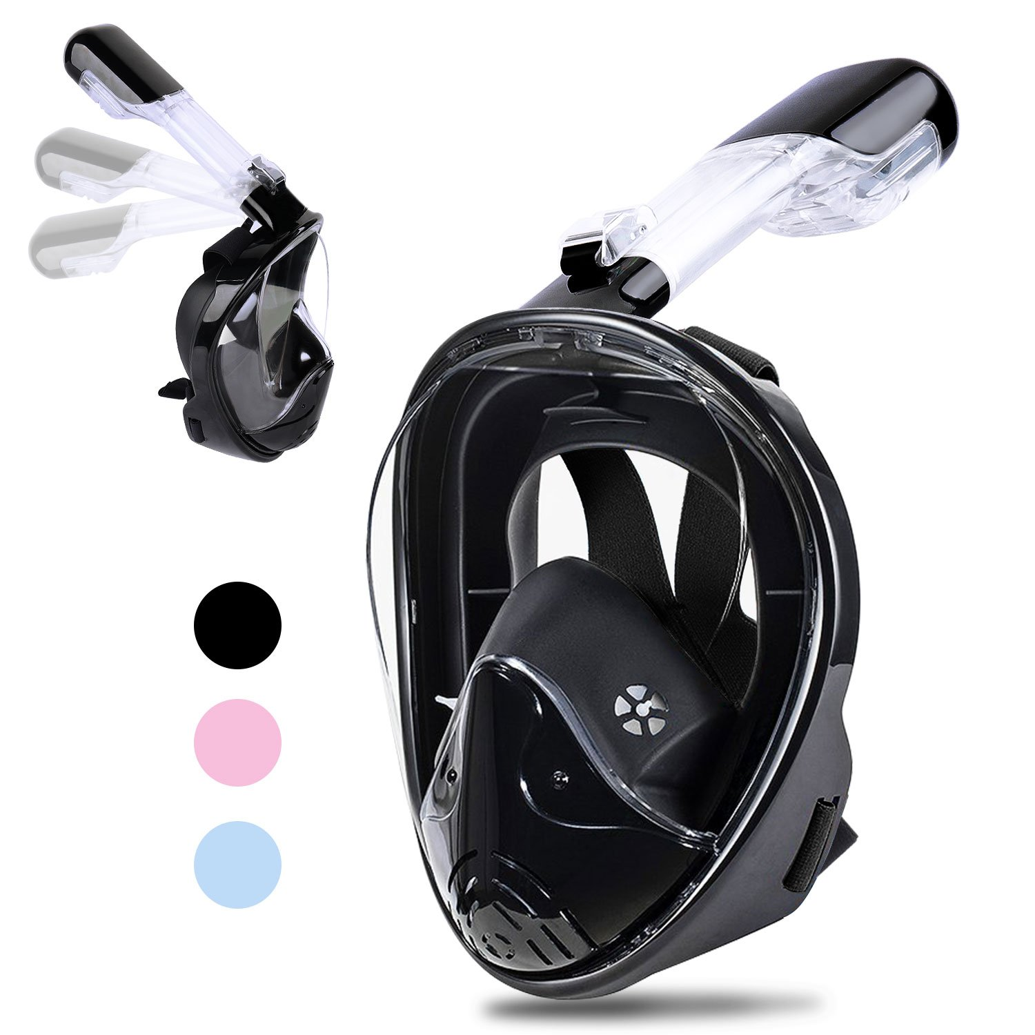 Greatever Newest Version Snorkel Mask Foldable 180 Panoramic View Free Breathing Full Face Snorkeling Mask with Detachable Camera Mount, Dry Top Set Anti-Fog Anti-Leak for Adults/Kids