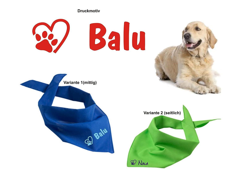Hundehalstuch mit Namen inkl. Motiv, in vielen verschiedenen Farb-Varianten bedruckt, Dreieckstuch Hund - Halstuch