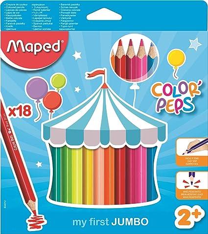 Maped Color Peps Jumbo - Pack de 18 lápices de colores: Amazon.es ...