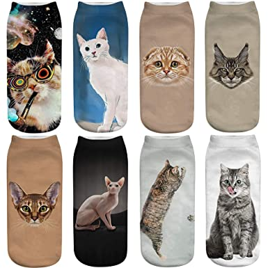 FLYCHEN Calcetines para Mujer 8 pares Zoo Cartoon Animales Modelo de invierno Calcetines de tobillo Fashion Casual para Mujer EU 35-41 Gato 1: Amazon.es: ...