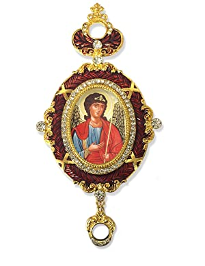 Enameled Burgundy Framed Icon Pendant of Archangel St Saint Michael With Crown 5 3/4 Inch