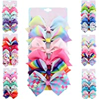 [6-Pack] 5 Inch Cute Mermaid Unicorn Rainbow Colorful Hair Bows Clip Accessories Gifts for Toddlers Girls (Mermaid Series)