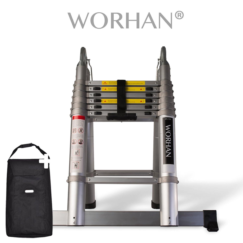 WORHAN/® Echelle 5m T/élescopique Aluminium Anodis/é Modulable Pliable Polyvalente Escabeau Solide AVEC DES ANNEAUX EN ALUMINIUM AK5+bag