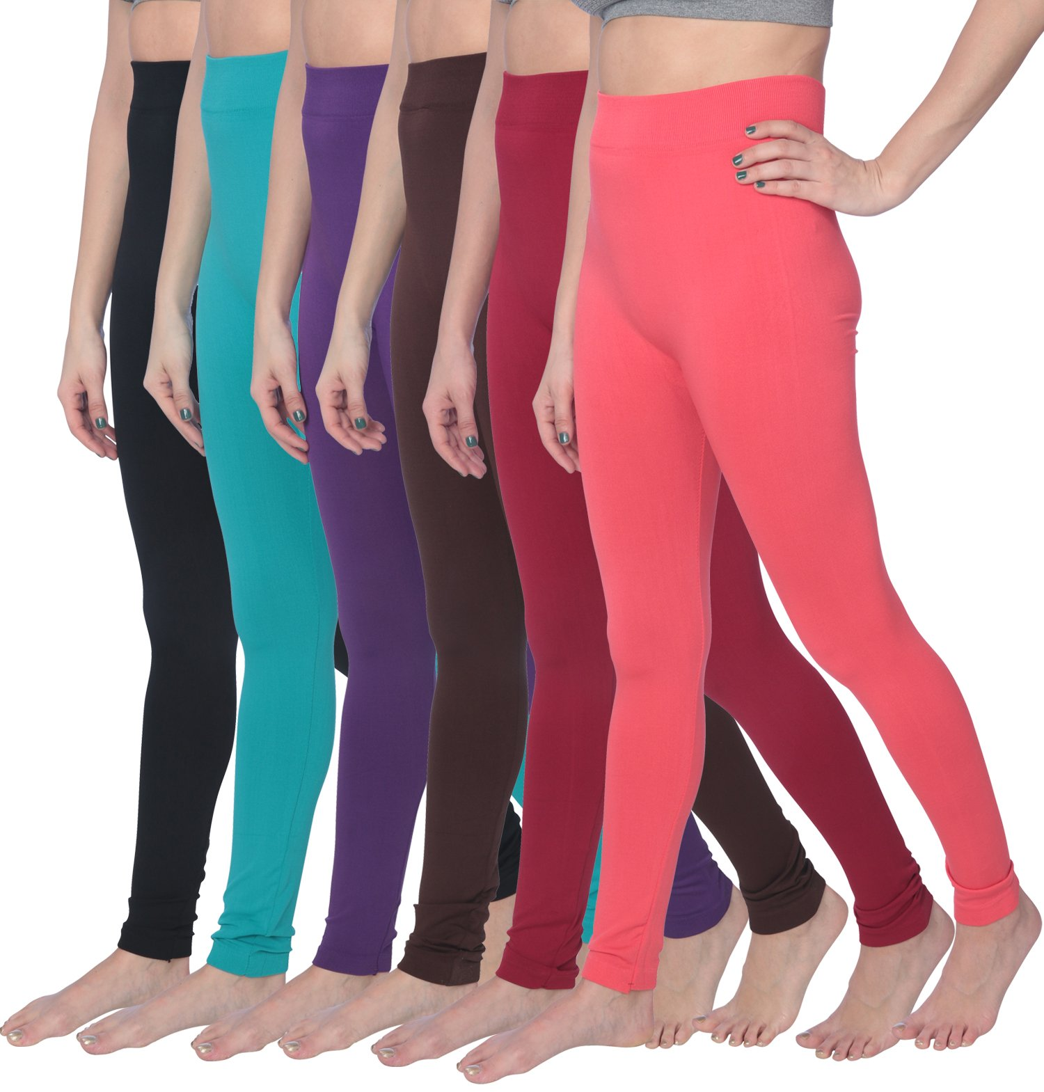 Active Club 6 Pack High Waisted Super Soft Leggings reg and Plus Size Assorted XL XXL