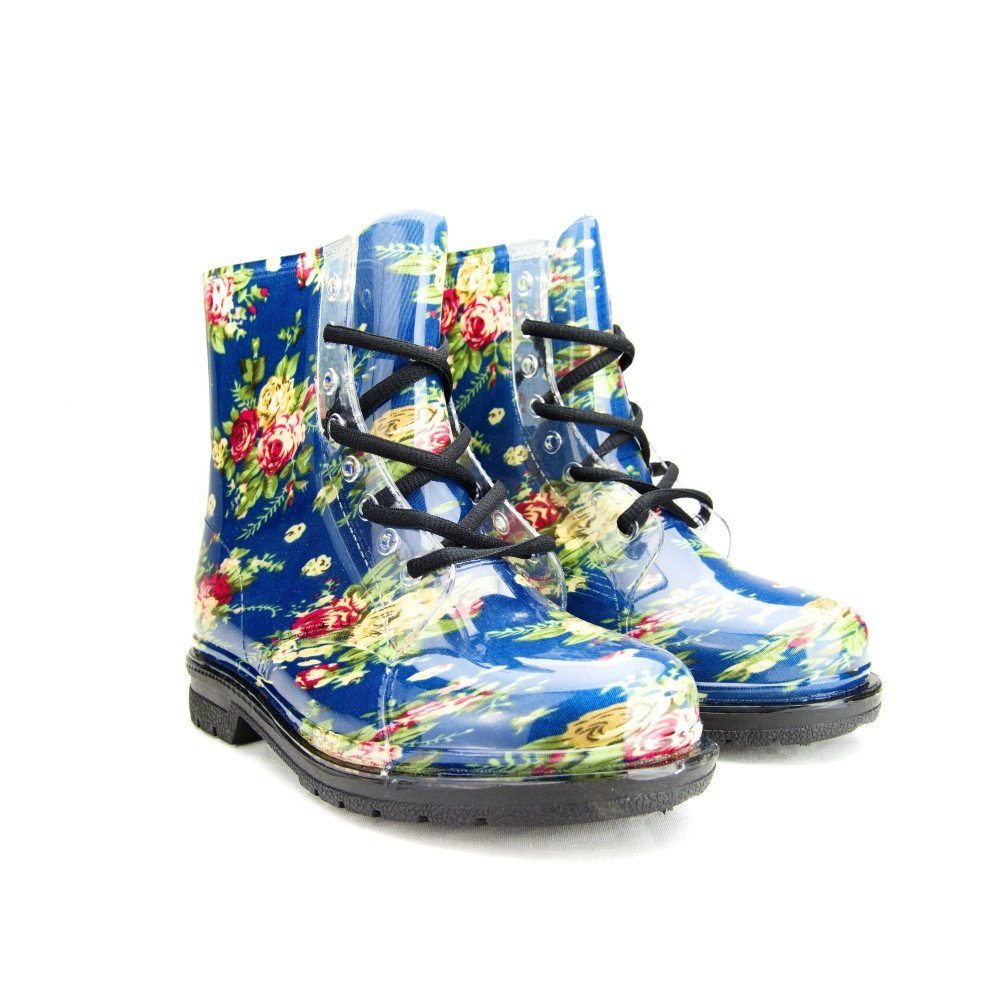 Chemistry Women's Ankle Flat Blue Rose Flower Transparent Clear Jelly Martin Rain Boots (11 B(M) US)