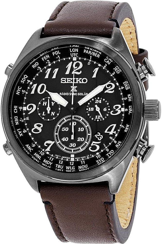 Seiko Men s Prospex Radio Sync Solar Brown Leather Strap Watch