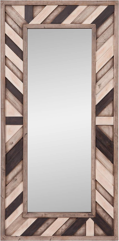 24x48 Rustic Wood Plank Framed Wall Mirror
