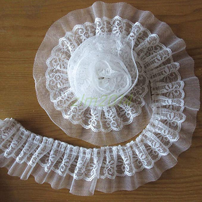 HOT 5 yards 2-Layer White Beautiful sequined Trim  Gathered organza Lace MG23