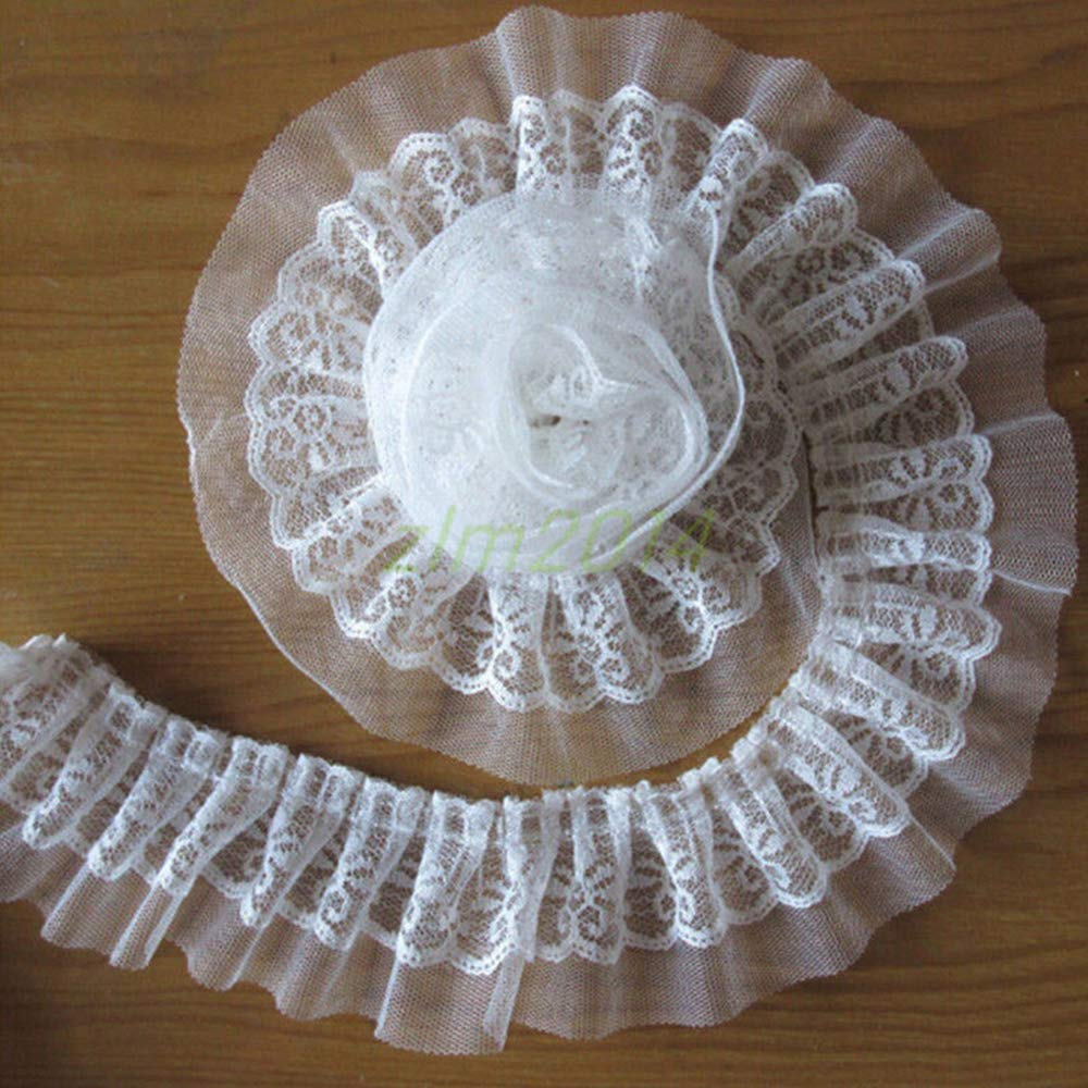 5 Yard 2-Layer Quality Pleated Organza Lace Edge Gathered Trim Ribbon 6 cm Width Vintage White Edging Trimmings Fabric Embroidered Applique Sewing Craft Wedding Dress DIY Decor Clothes Embellishment Qiuda
