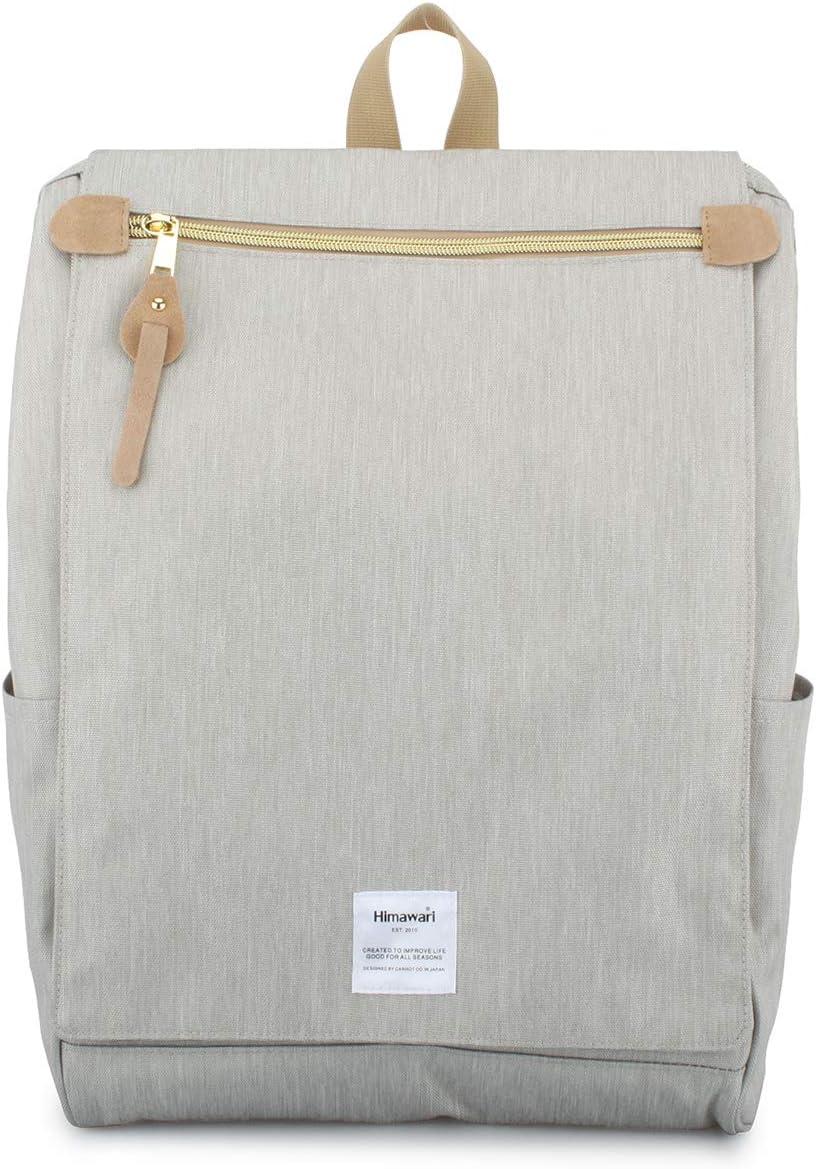 Himawari Travel School Backpack with Laptop Compartment for Women Men 15.6 inch -Beige